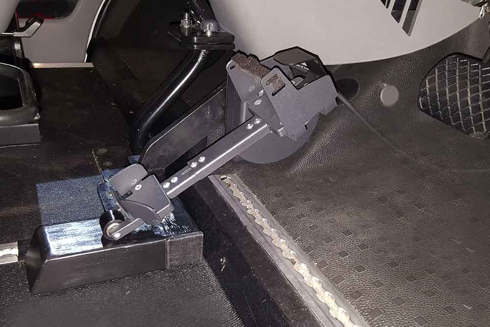 Foot steering mechanism installed in a car from Fadiel Italiana