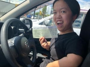 Hazel celebrates passing her driving test