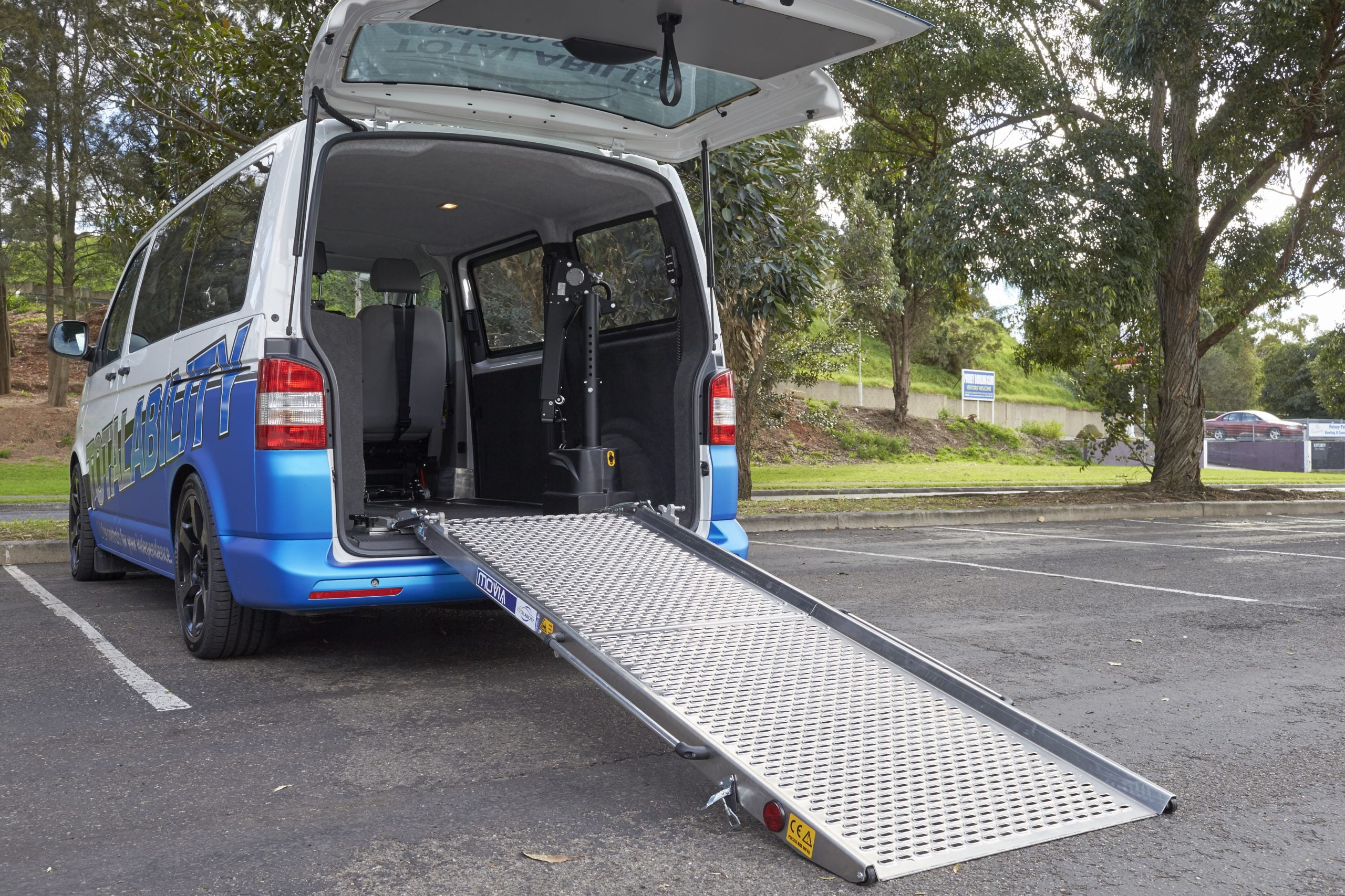 ramp extended out at the back of the Total Ability Van