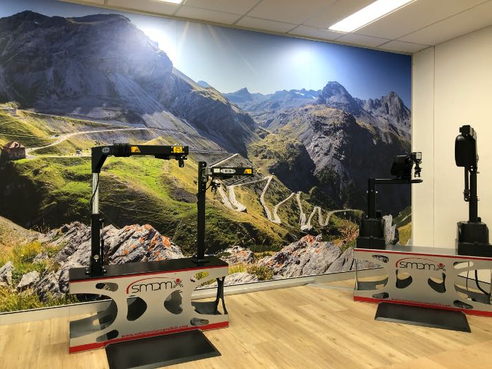 Total Ability showroom with Stelvio mountain scene burial on background wall