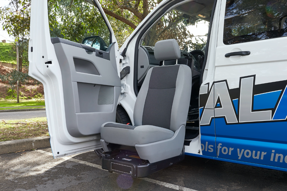 Lowering swivel seat exiting the Total Ability van