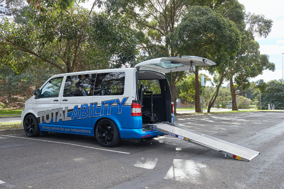 Movia ramp opened at the back of the Total Ability van
