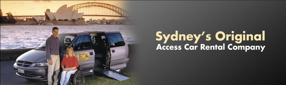 Photo of van with two people in front with Sydney harbour bridge in the background. Sydney's Original Access Car Rental Company
