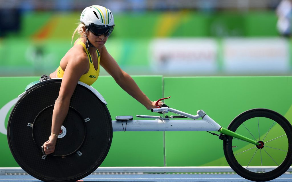 Madison De Rozario in her racing wheelchair at the Rio Paralympic Games 2016